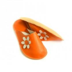 Chaussons cuir adulte Babs Orange Fleurs