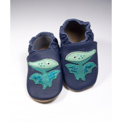 Chaussons cuir souple Dinosaure Ptérodactyle