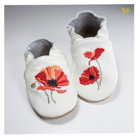 Chaussons cuir souple Coquelicot