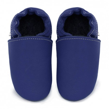 Chaussons cuir FOURRES adulte Bleu roi