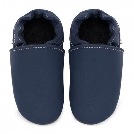 Chaussons cuir FOURRES Bleu Ardoise