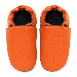 Chaussons cuir souple adulte Orange Volcan