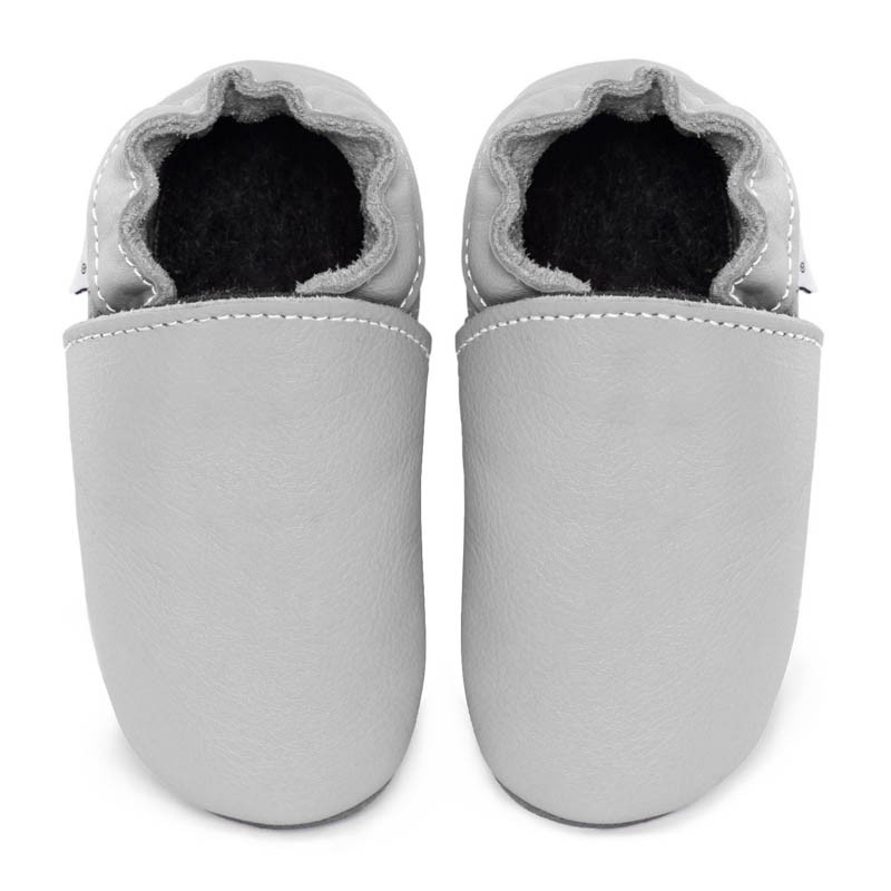 Chaussons cuir FOURRES adulte Gris clair