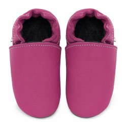 Chaussons cuir souple Rose fushia