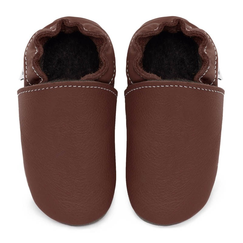 Chaussons cuir FOURRES Marron