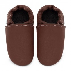 Chaussons cuir souple adulte Marron