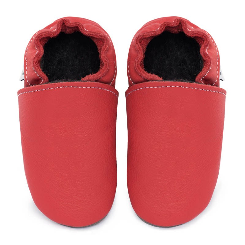 Chaussons cuir FOURRES Rouge feu