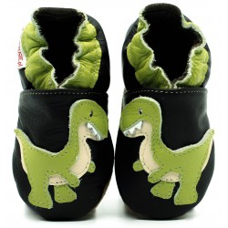 Chaussons cuir souple Dinosaure