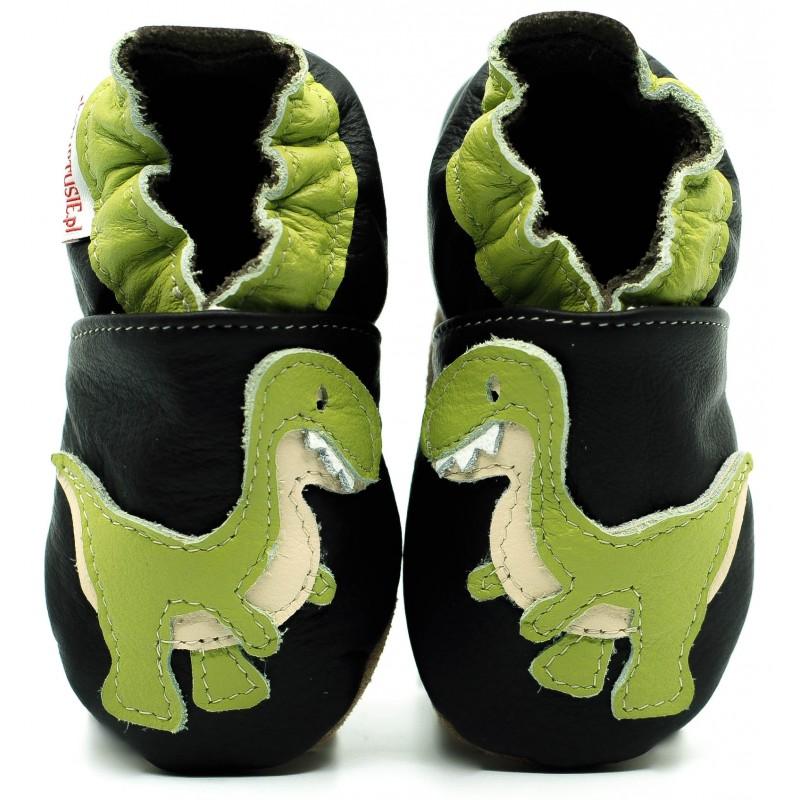 images détaillées 99fe2 cd9b7 Chaussons cuir souple Dinosaure