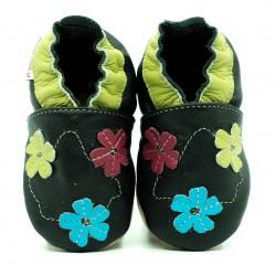 Chausson cuir souple Fleurs multi-couleurs