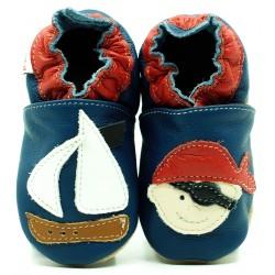 Chaussons cuir souple Pirate et bateau fond bleu