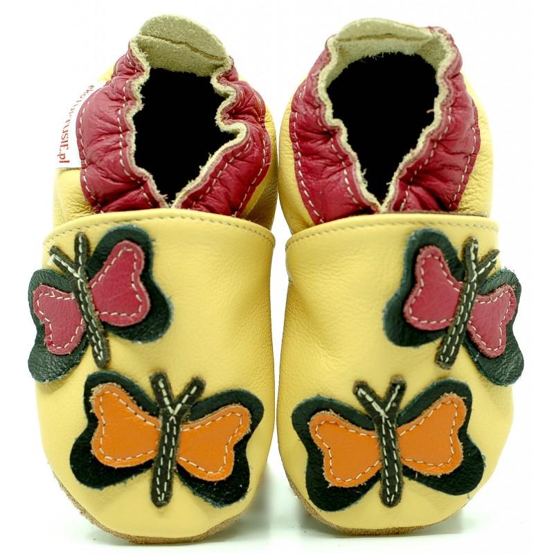 Chaussons cuir souple Papillon rose et orange