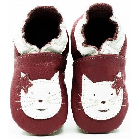Chaussons cuir souple Chat fond rose