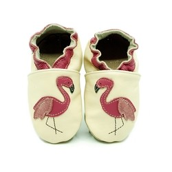 Chaussons cuir souple Flamant rose