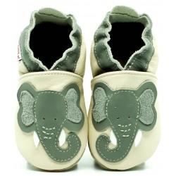 Chaussons cuir souple Eléphant fond blanc