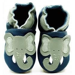 Chaussons cuir Elephant fond bleu