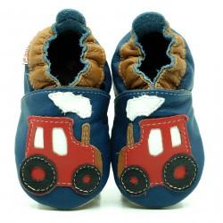 Chaussons cuir souple Tracteur fond bleu