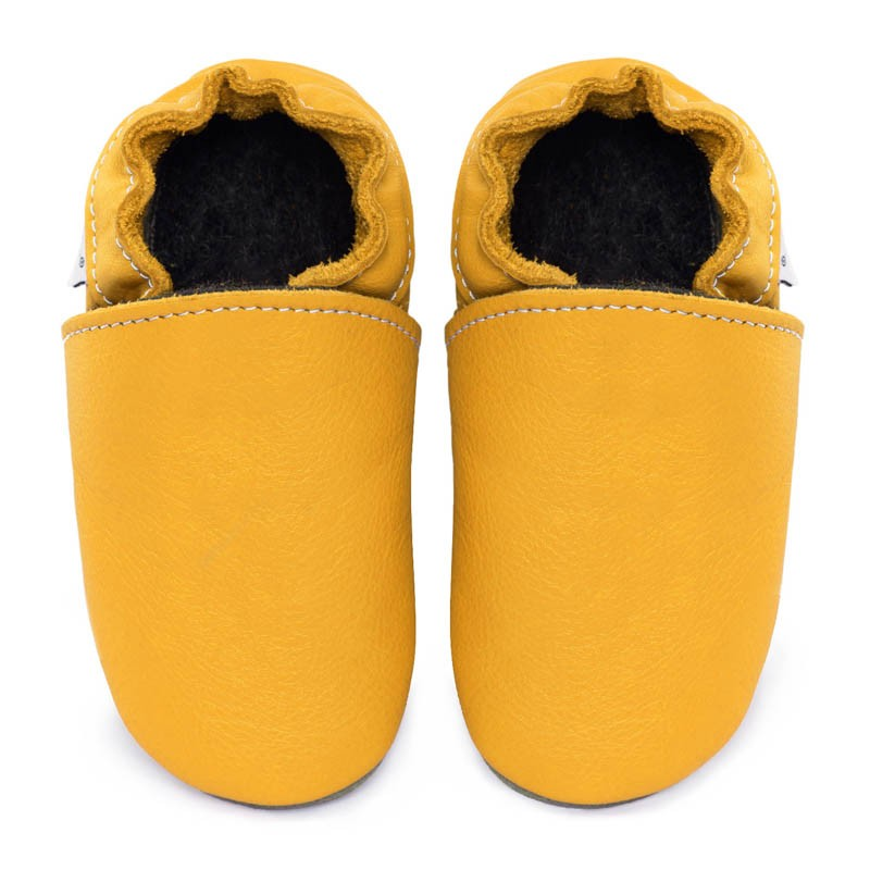 Chaussons cuir FOURRES Jaune
