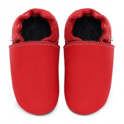 Chaussons cuir FOURRES adulte Rouge Santa Claus