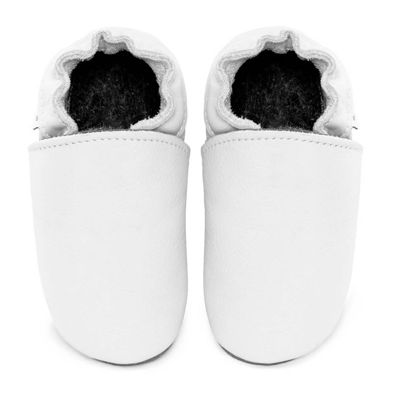 Chaussons cuir FOURRES adulte Blanc