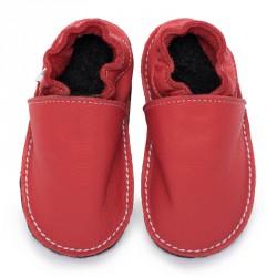 P'tites Gomme Rouge feu, semelle caoutchouc, chaussure cuir souple