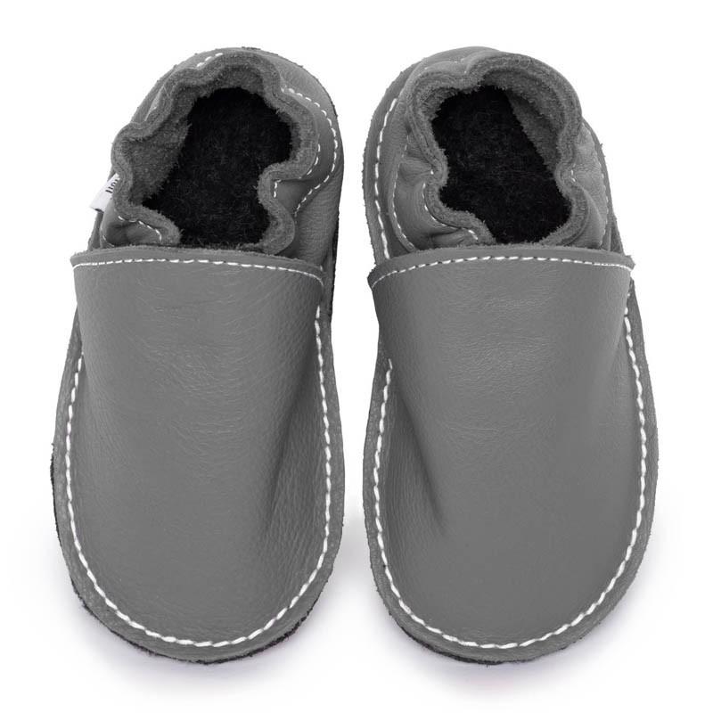 P'tites Gommes Grise foncé, semelle caoutchouc, chaussure cuir souple