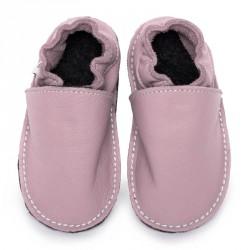 Petites Gommes Rose Camel, semelle caoutchouc, chaussure cuir souple