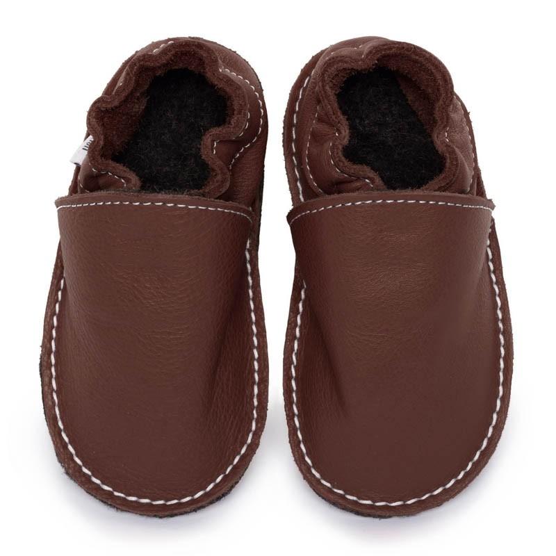 P'tites Gommes Marron, semelle caoutchouc, chaussure cuir souple