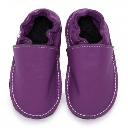 P'tites Gommes violette, semelle caoutchouc, chaussure cuir souple
