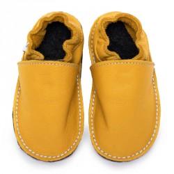 P'tites Gommes Jaune Soleil, semelle caoutchouc, chaussure cuir souple