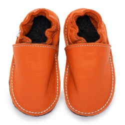 P'tites Gommes Orange Volcan, semelle caoutchouc, chaussure cuir souple