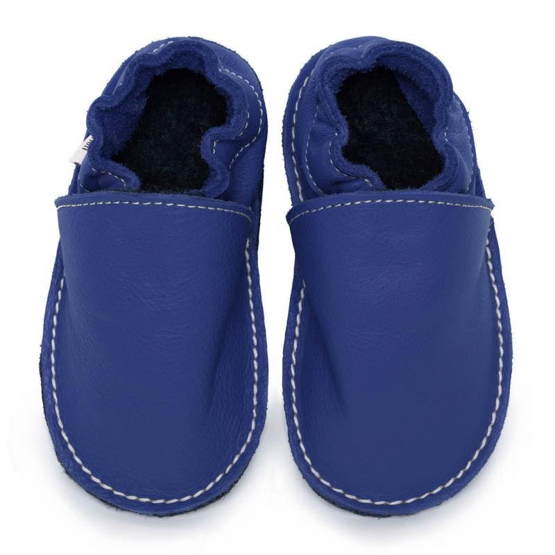 P'tite Gomme Bleu roi, semelle caoutchouc, chaussure cuir souple