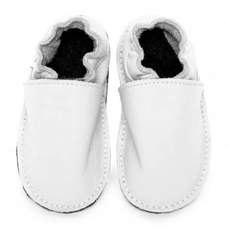 P'tite Gomme blanche, semelle caoutchouc, chaussure cuir souple