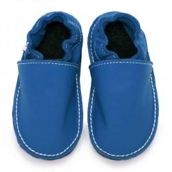 P'tites Gommes Bleu jeans, semelle caoutchouc, chaussure cuir souple