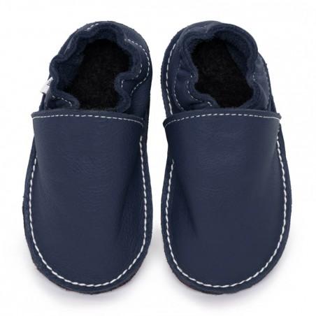 P'tites Gommes Bleu Ardoise, semelle caoutchouc, chaussure cuir souple
