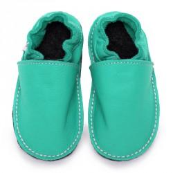 P'tites Gommes Bleu/Caraibe, semelle caoutchouc, chaussure cuir souple