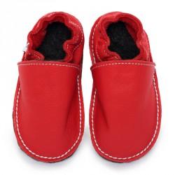 P'tites Gommes Rouge Santa Claus, semelle caoutchouc, chaussure cuir souple