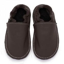 P'tites Gommes Taupe, semelle caoutchouc, chaussure cuir souple