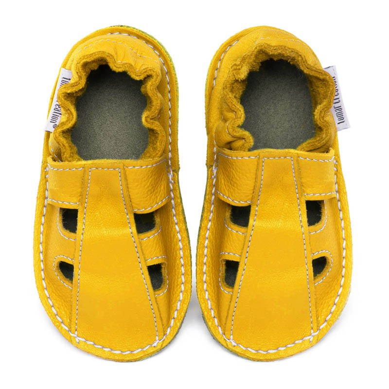 P'tites Gommes été Jaune Soleil, semelle caoutchouc, chaussure cuir souple