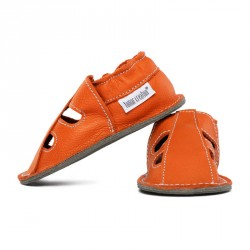 P'tites Gommes été Orange Volcan, semelle caoutchouc, chaussure cuir souple