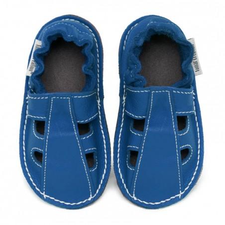 P'tites Gommes été Bleu jeans, semelle caoutchouc, chaussure cuir souple