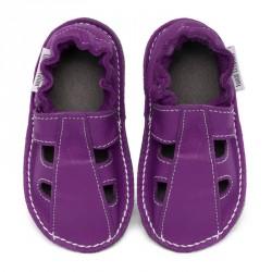 P'tites Gommes été violette, semelle caoutchouc, chaussure cuir souple