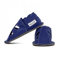 P'tite Gomme été Bleu roi, semelle caoutchouc, chaussure cuir souple