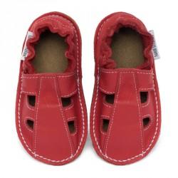 P'tites Gomme été Rouge feu, semelle caoutchouc, chaussure cuir souple