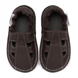 P'tites Gommes été Taupe, semelle caoutchouc, chaussure cuir souple