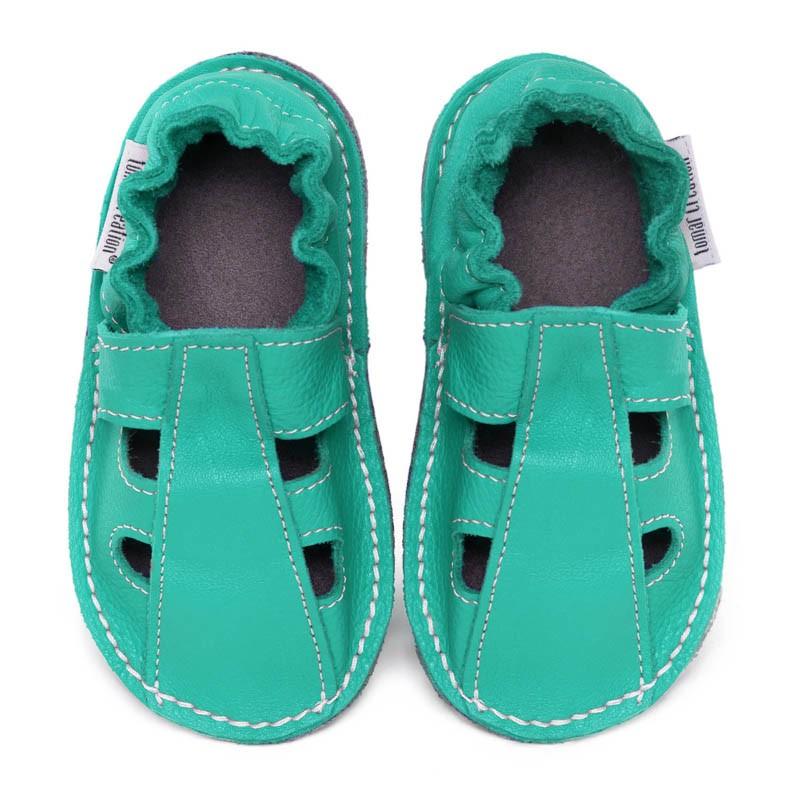 P'tites Gommes été Bleu/Caraibe, semelle caoutchouc, chaussure cuir souple