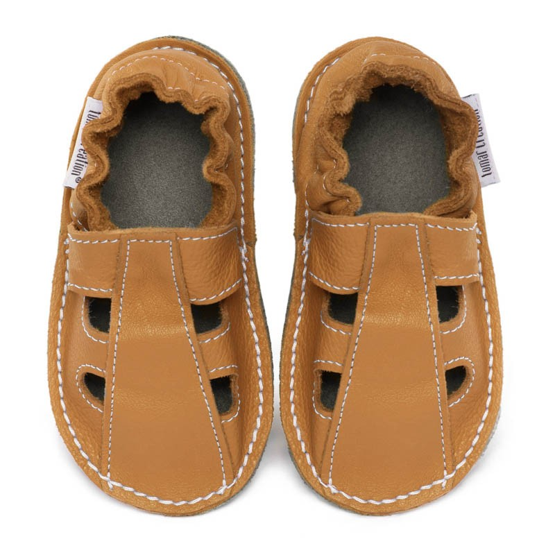 P'tites Gommes été Savanne, semelle caoutchouc, chaussure cuir souple