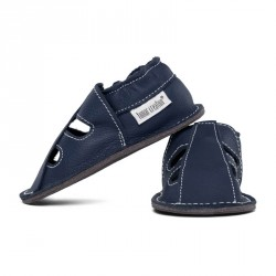 P'tites Gommes été Bleu Ardoise, semelle caoutchouc, chaussure cuir souple