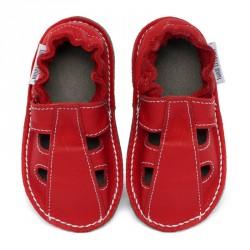 P'tites Gommes été Rouge Santa Claus, semelle caoutchouc, chaussure cuir souple
