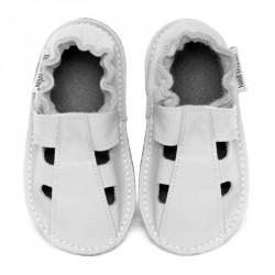 P'tite Gomme été blanche, semelle caoutchouc, chaussure cuir souple